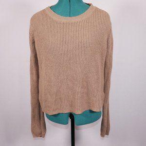 Ambiance Apparel Knit Lace Up Back Sweater Size L